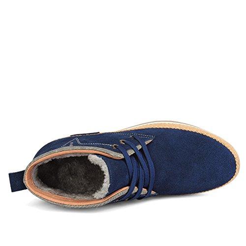 Desert Moyenne Chukka derby rétro homme chaussure de coton Western avec cuir velours loisir casuel hiver moderne chaude homme Bleu