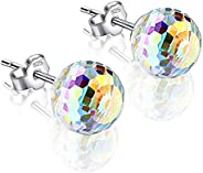Luxury Crystal Disco Ball Stud Earrings For Women Girl 925 Silver Party Shinning Exquisite Lucky Jewelry Gift