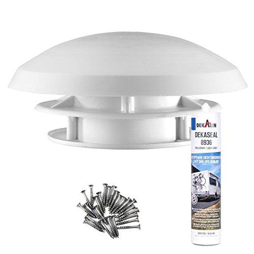 Preisvergleich Produktbild Dachlüfter Wohnmobil 20 cm weiß Dachstärke 20-45 mm Bohrung 90 mm Insektengitter + Deklain Dichmittel + Schrauben