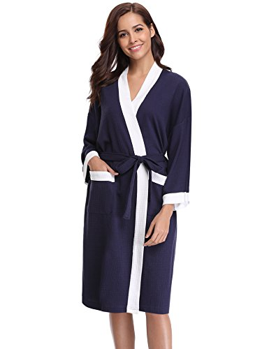 88ccda07ee Aibrou Unisex Waffle Dressing Gown Lightweight Bath Robe for Spa Hotel Pool  Sleepwear - Buy Online in Oman.