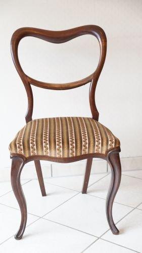 Antiker Stuhl Barock Rokoko Stil Louis-Philippe 1840 - 1880 Ballonstuhl Chippendale (Chippendale Stuhl)