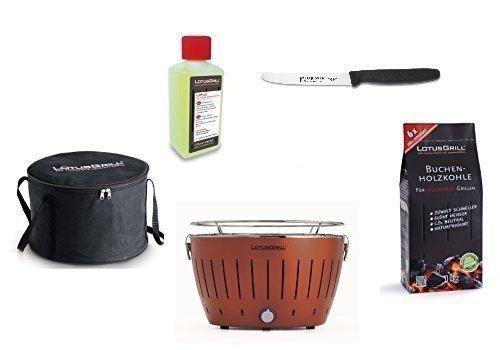 Lotus Barbecue Kit de démarrage 1x Lotus cuivre Marron Couleur Spéciale 1x Hêtre Charbon de bois 1kg, 1x Pâte combustible 200ml, 1couteau Giesser 11cm avec lame crantée, 1x sac de transport