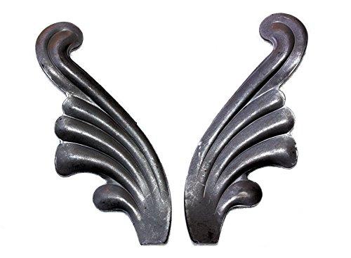 # 556coppia ornamentali rosette angelo ali foglie di quercia fogliame arte battuto ringhiere