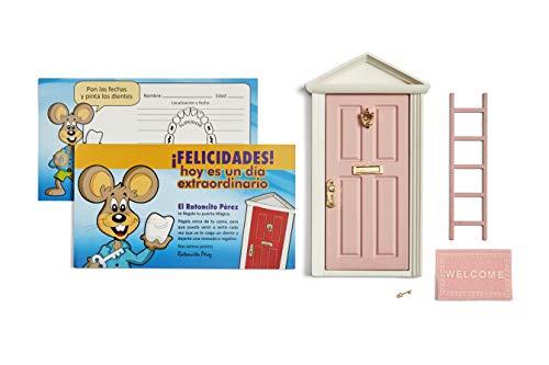Ratoncito Pérez: Puerta Mágica Rosa + Escalera + Felpudo + Llave + Postal de Felicitación + dibujo para anotar y pintar las fechas de los dientes caídos