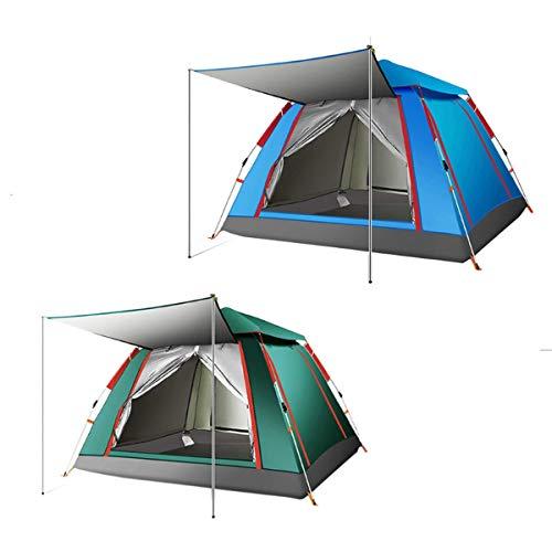 Pyramide Zelt 3-4 Personen Outdoor Wasserdicht PopUp Automatikzelt Big Thick Outdoor Zelt Family Camping Wandern Angeln Sonnenschutz Regen Shelter-Sky Blue/Dark Green Camping und Wandern