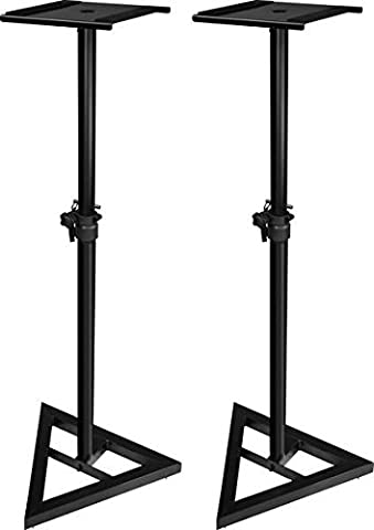 JAMSTANDS by Ultimate Suport JS-MS70 Height Adjustable Monitor Stand for Studio Monitors/Locking Pin/Leveling Floor Spikes/Rubber Feet/Low-Profile