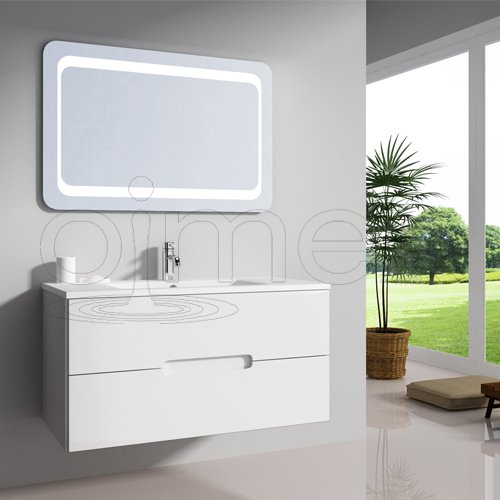 oimexgmbh Design Badmöbel Set 'Tiana' Weiß Hochglanz Waschtisch 90cm inkl. Armatur LED Spiegel Badezimmermöbel Set mit Waschbecken