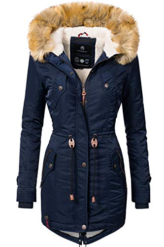 Navahoo Damen Winter Mantel Winterparka La Viva Blau Gr. S