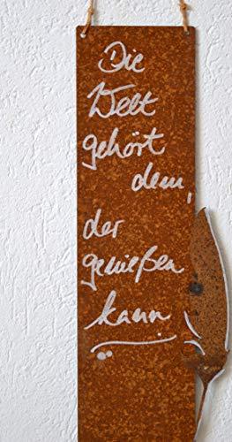 Maison en France Wandbild mit Weisheiten - Metallbild mit Edelrost - Höhe 36 cm - Weisheit: Die Welt gehört dem, der genießen kann