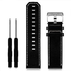 Uhr kingko® Armband Herren Damen Lederband Ersatz Uhrenarmband mit Werkzeugen für Garmin Fenix 3 (Schwarz)