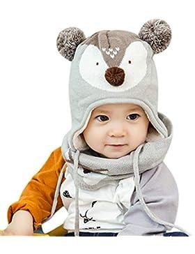 DORRISO Unisex-Baby Jungen Mädchen Mütze Schal Handschuh Set Winter Herbst Beanie Strickmütze Niedlich klein Fuchs...