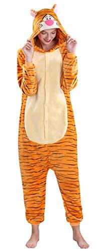 Yimidear® Unisex Cálido Pijamas para Adultos Cosplay Animales de Vestuario Ropa de Dormir Halloween y Navidad(S, Tigre)
