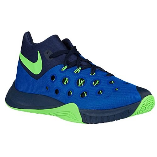 Nike Herren ZOOM HYPERQUICKNESS 2015 Basketball Schuhe - königsblau/Grn Streifen / Mid Marineblau, 42
