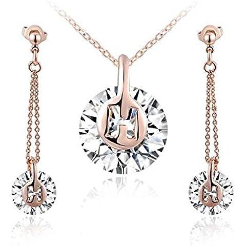 Ciondolo da donna placcato oro rosa 18kt semplice rotondo in cristallo collana con pendente e orecchini pendenti
