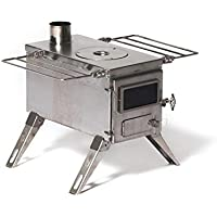 Winnerwell Nomad Medium Tent Stove | Tiny Portable Wood Burning Stove for Tents, Shelters, and Camping | 800 Cubic Inch Firebox | Precision Stainless Steel Construction | Includes Chimney Pipe