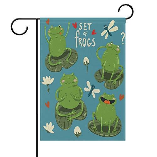 ASKYE Green Frog White Lotus Dragonfly Garden Yard Flag Double Sided, Welcome to Pad Frog Flowers Summer Spring Decorative Garden Flag Banner for Outdoor Home Decor Party(Size: 28inch W X 40inch H) Lotus Flower Dress