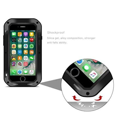"""iPhone 7 Plus 5,5 """"Metallic Strap Case, i-Nings Schwerer wasserdichter, schlagfester, schlagfester Aluminiumlegierungs-Silikon-Stoßfänger mit Gorilla-Glas-Bildschirmfolie für Apple iPhone 7 Plus 5,5 Z Black"""