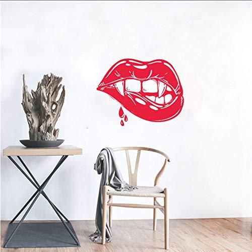 yiyiyaya Beißen Lippen Wandtattoo Vampire Vinyl Aufkleber Kunst Dekor Home Interior Zimmer lustiges Design Schlafzimmer Ideen 42 * 55 cm