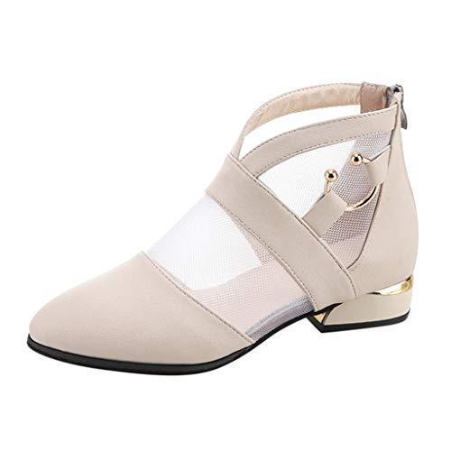 Deloito 2019 Damen Mode Wanderschuhe Mesh-Nähte Elegante Erbsenschuhe Quadratische Ferse Flatschuhe Römische Freizeitschuhe Kurze Stiefel (Beige,36 EU)