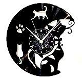 Horloge murale en vinyle cadeau vintage fait main décorations pour la maison chat chats