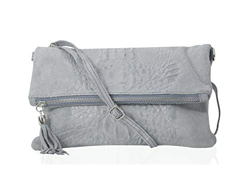 zarolo Damen Umhängetasche,Tasche klein, Schultertasche, Cross Body, Leder Clutch echtes Leder, Handtasche Italienische Handarbeit M20590 -