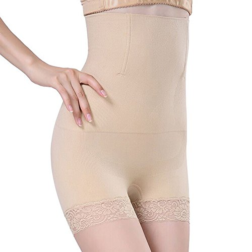 SURE YOU LIKE Damen Figurenformend Miederpants Miederhose Shapewear Bauch-Weg-Effekt Formt Sofort Body Shaper,Beige,Tag L/XL=size EU(42-46)