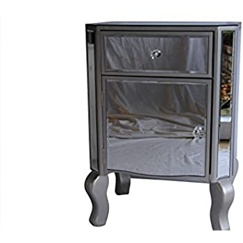 mirrored bedside table. venice mirrored bedside table 1 drawer and door with champagne silver trim