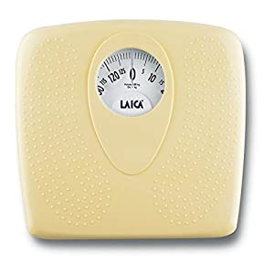 Báscula de baño clásica mecánica, Laica PL8019 color amarillo, 130 kg. Superficie antideslizante