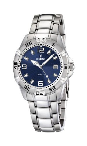 Festina Men's Quartz Watch with Blue Dial Analogue Display and Silver Stainless Steel Bracelet F16636/3