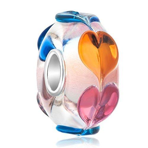 Sug Jasmin 925Sterling Silber Infinity Herz Love Glas Charme Perlen für Charm beacelets