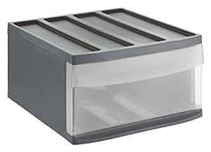 rotho 1114208853 schubladenbox systemix aus kunststoff ablagefach gr sse l plastik anthrazit. Black Bedroom Furniture Sets. Home Design Ideas
