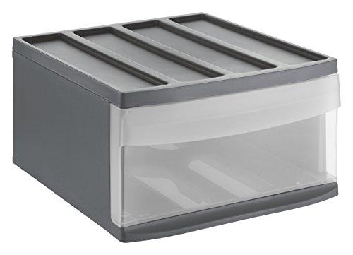 Rotho 1114208853cassetti Box Syste Mix in plastica, vano portaoggetti, taglia L, Plastica, Antracite/Trasparente, 39.5x 34x 20.3cm