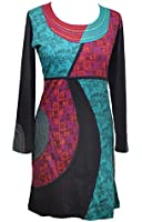 LADIES LONG SLEEVE DRESS WITH COLOURFUL PRINTS AND EMBROIDERY - ACIS
