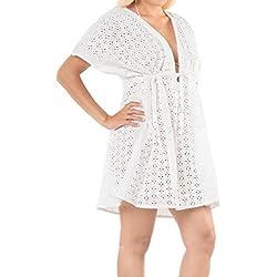 LA LEELA la Playa de baño Bikini Traje de baño de Las Mujeres de algodón Cubrir Blusa Blanca Lisa