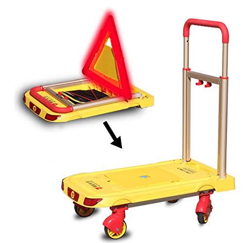 Faltbarer Plattformwagen mit 198lb / 90kg Kapazität und Warnleuchte, Dreieck-Warnschild, USB-Aufladung, Umzug des Lagers Push Cart Dolly Heavy Duty, Aluminium, Gelb