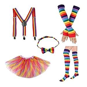 Amosfun Regenbogen Geschichteten Tüll Tutu Rock mit bunten Bowknot Krawatte Lange Handschuhe Strumpf Hosenträger Kostüme Zubehör für kleine Mädchen Karneval Geburtstagsfeier Cosplay Kostüme
