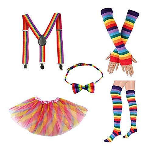 Fenical Regenbogen Tutu Rock Kit Bowknot Krawatte Lange Handschuhe Strumpf Hosenträger Kostüme Zubehör Set für Kinder