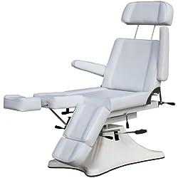 hydraulisch höhenverstellbarer Fußpflegestuhl mit Rücken- und Beinteilverstellung Farbe weiß