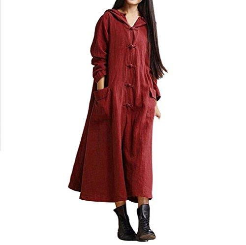 NPRADLA 2018 Damen Kleider Elegant Herbst Lang Langarm Mantel Jacke Mit Kapuze beiläufige lose Lange Maxi Kleid Festlich