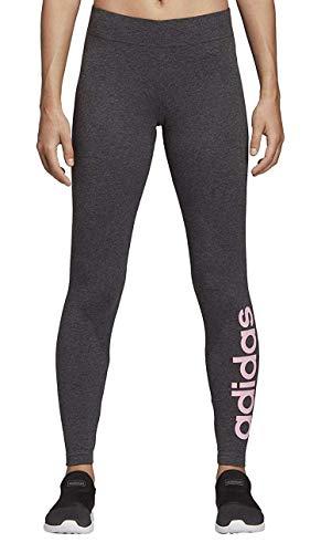 Adidas essentials linear tight, leggins donna, dark grey heather/true pink, s 40-42