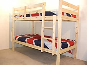 Adult Bunkbed - 3ft Single Bunk Bed - VERY STRONG BUNK! - Contract Use - has TWO centre rails for added support - INCLUDES two 15cm thick sprung mattresses