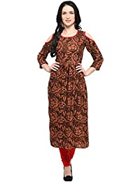 Ecolors Fab Women's Solid Rayon A Line Kurtis For Women(Coffy_Cutt )