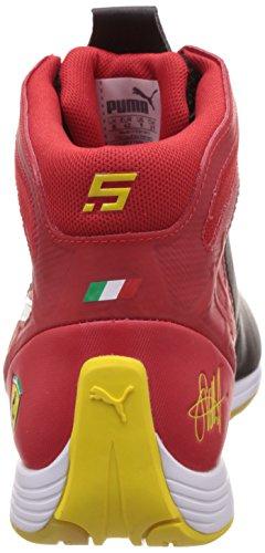 Puma Evospeed 1.4 Mid Vettel Nm Unisex-Erwachsene Low-Top Rot (rosso corsa-white-vibrant yellow 01)