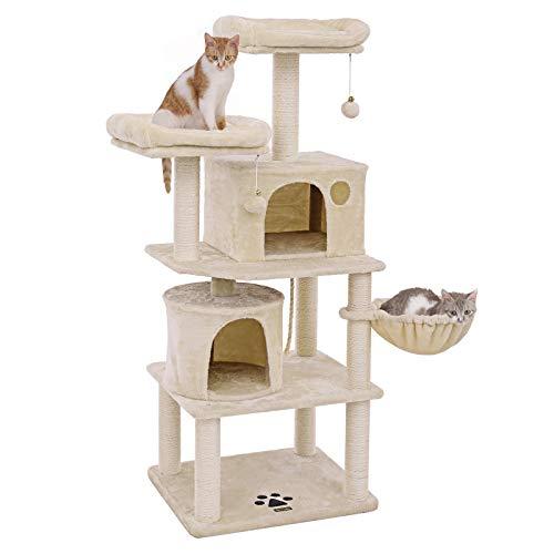 FEANDREA Stabiler Kratzbaum mit Sisal-Kratzstangen, Plüsch-Sitzmulden, Einem Korb und 2 Häuschen, Kletterbaum für Katzen, Beige, PCT90M