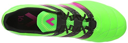 adidas Ace 16.1 FG/Ag Leather, Scarpe da Calcio Uomo, Nero / Arancione, 45 EU Grün (Solar Green/Shock Pink/Core Black)
