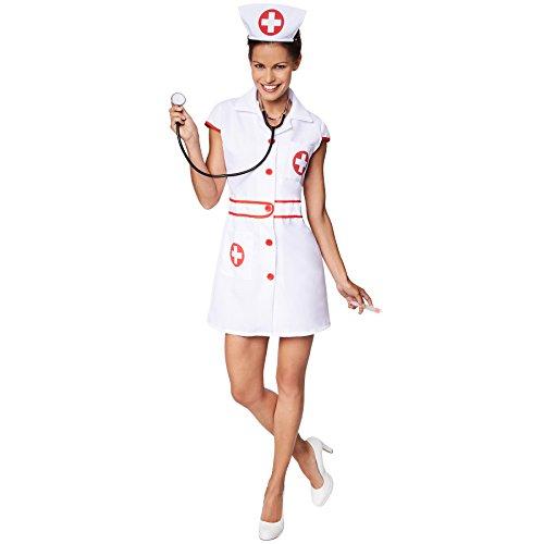 Kreuz Kostüm Krankenschwester Rot - TecTake dressforfun Frauenkostüm sexy Krankenschwester | Aufgedrucktes, rotes Kreuz | Vorne mit Knöpfen | Inkl. Haarreifen (L | Nr. 301505)