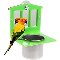 Comedero-Espejo de Acero Inoxidable con Forma de Loro para pájaros