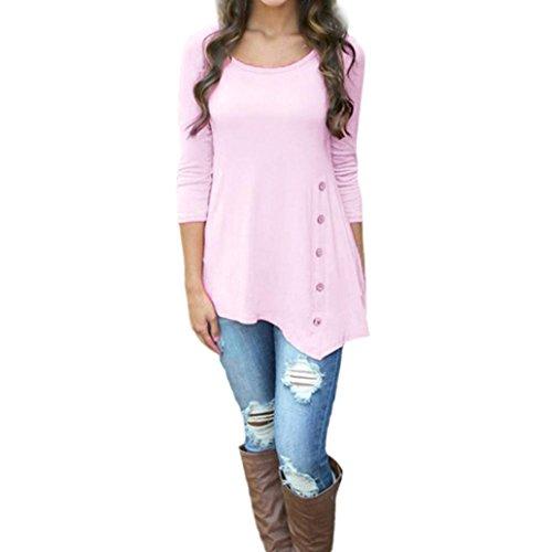 Mode Lässig Tunika, Hansee Frauen Langarm Lose Taste Trim Bluse einfarbig Rundhals Tunika T-Shirt (L, Rosa) (Taille Elastische Nadelstreifen-shorts)