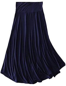 Juqilu Falda maxi larga para mujer, estilo retro Algodón Larga Faldas Cintura Alta Irregular Dobladillo Falda...