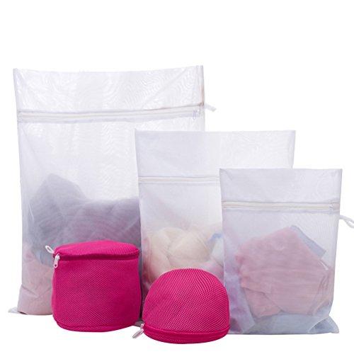 Dexinx 5 Stück Sets von Kleidung Mesh Wäschebeutel mit Reißverschluss Waschbeutel Schützt Ihre Kleidung Rose